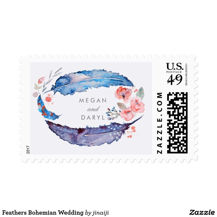 Feathers Bohemian Wedding Postage Floral Watercolor Feathers Bohemian Wedding Postage Stamps