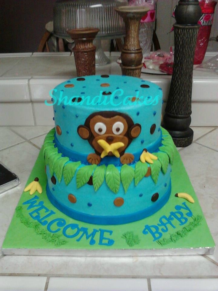 14 best images about baby shower cake ideas on pinterest baby showers buns and monkey - Baby shower monkey theme cakes ...