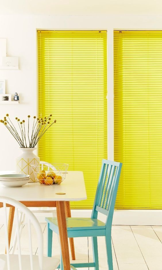 Use bright pops of colour in retro styles to bring a fun scandi-inspired look to a room. Keep your walls and floors decorated neutrally to make an impact. Our Warm Yellow Venetian blind would finish this look off perfectly!