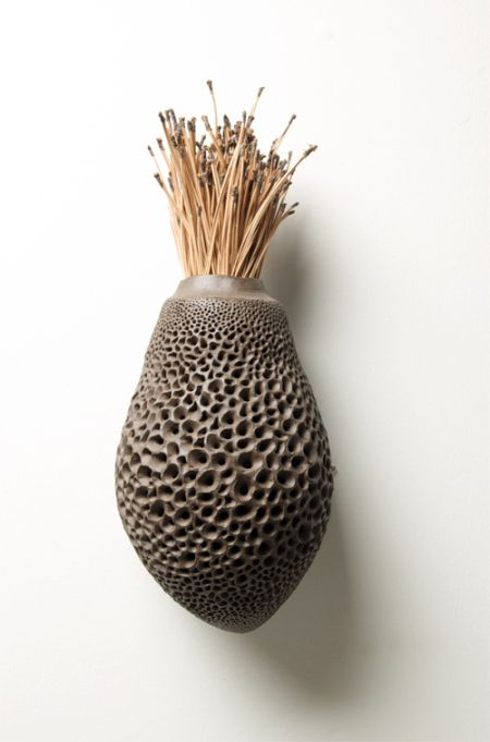 Great idea for using MagScapes magnetic wallpaper with magnets. honeycomb-vase-Debra Fleury