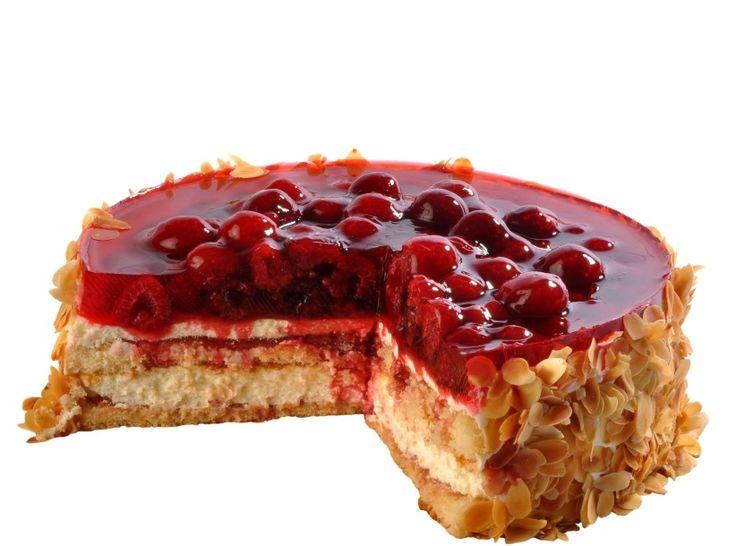 Malinový dort Nadýchaný piškotový korpus proložený lehkým krémem z mascarpone, pokrytý šťavnatými malinami s přelivem z ovocného želé, ozdoben zlatavými praženými mandlovými plátky.