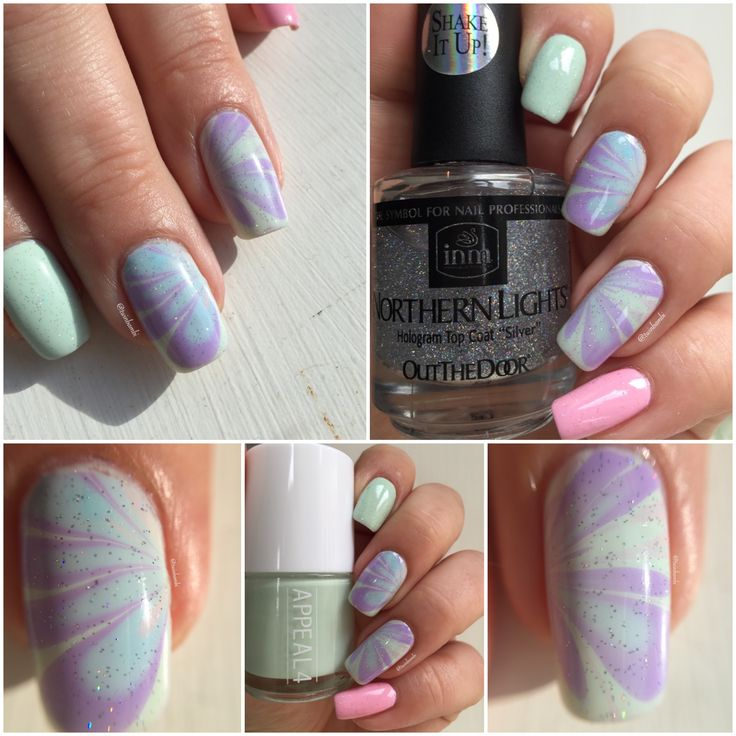 The first watermarble of 2016. @appeal4 polishes:  Soft Wave Beach Clubbing Leopard Lily and Sweet Rose Holo top coat from INM