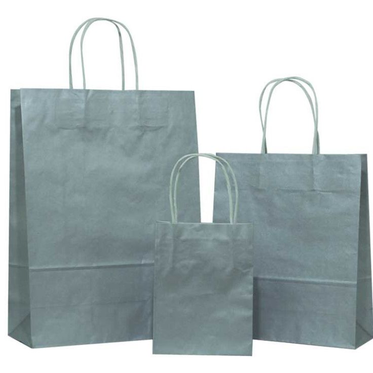 Silver Solid on White Carrier Bag with Twisted Handle - Pico Bags