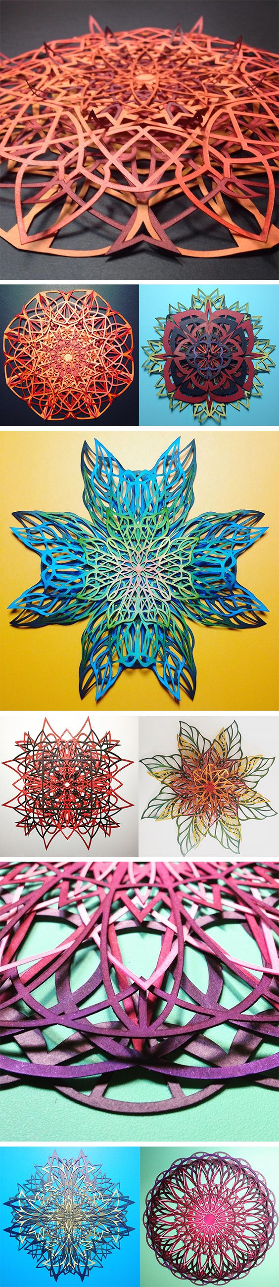 Click for more pics! | Intricate Interlocked Geometric Cut Paper Sculptures Inspired by Science and Nature by Chrissie Hart #paperart #cutpaper #sculpture