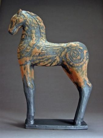 """Jeri Hollister,   Black Horse with Carving - 29"""" x 23"""" x D 8"""" earthenware"""