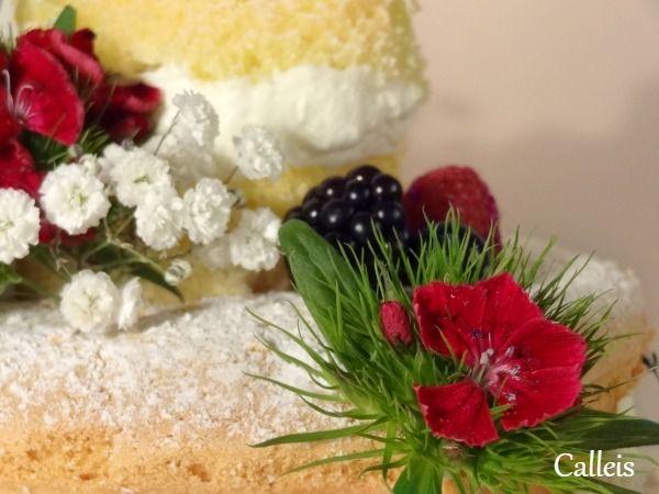 naked cake fleurs