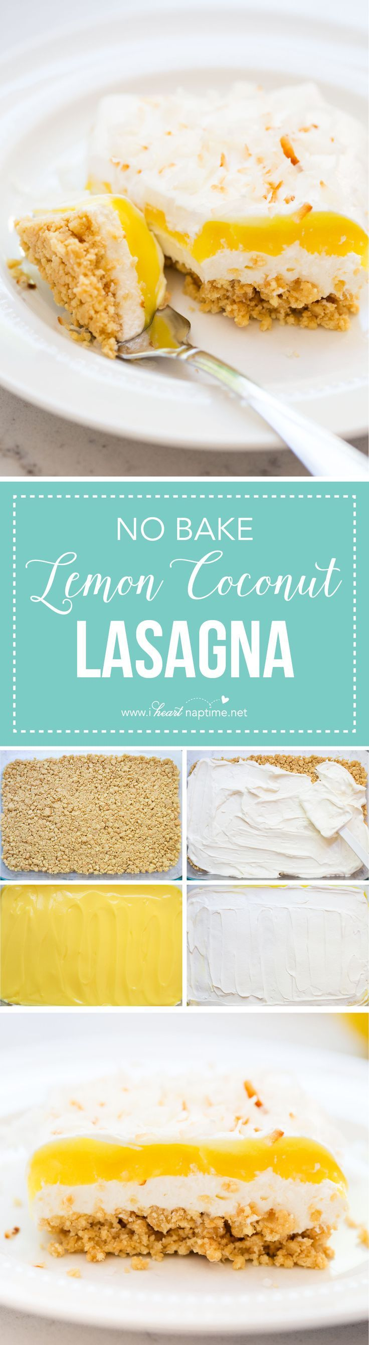 NO BAKE Lemon Coconut Cream Dessert Lasagna... a delicious and easy end-of-summer treat perfect year round!