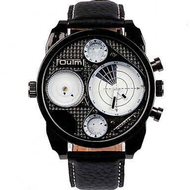 Herren Armbanduhr Quartz Duale Zeitzonen Leder Band Cool / Bequem Schwarz Marke 5379211 2016 – €29.39