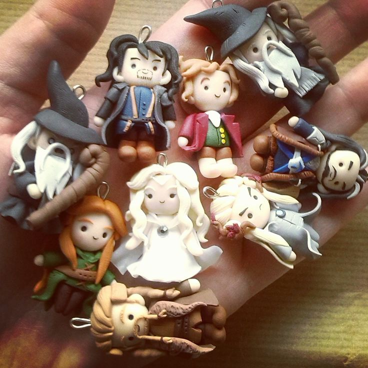 The Middle Earth characters (Bilbo Baggins, Gandalf, Thorin, Kili, Fili, Galadriel, Tauriel and Thranduil) made in #fimo!