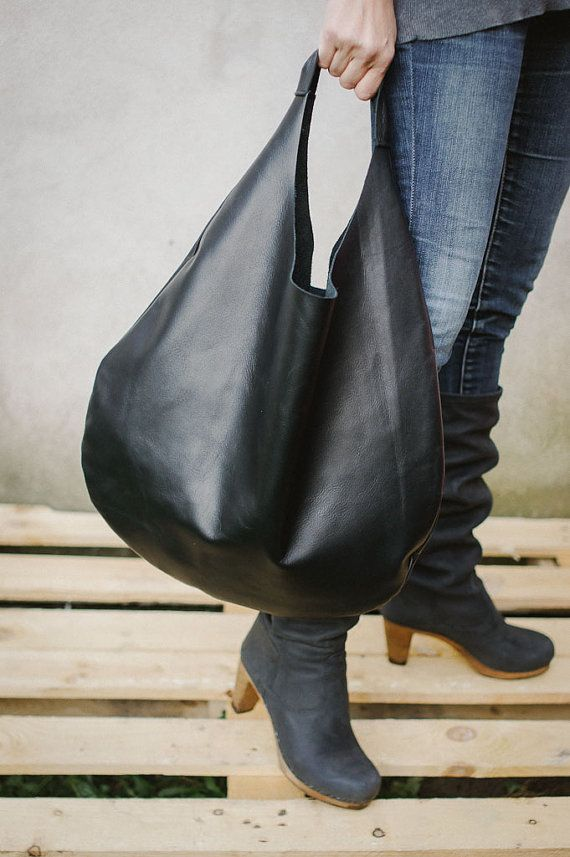 Black Leather Hobo Bag every day bag tote bag by patkas on Etsy, $150.00