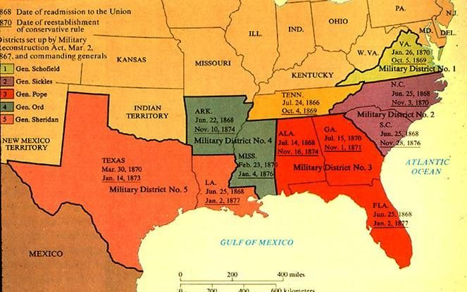 In early 1867, Congress passed the Military Reconstruction Act. The plan divided the South into five military districts, each of them governed by a general supported by federal troops. The Congress...