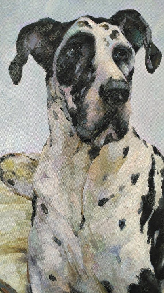 paint from digital images Hand Painted Commission Dog Oil Painting On Canvas Custom Art Great Dane Pet