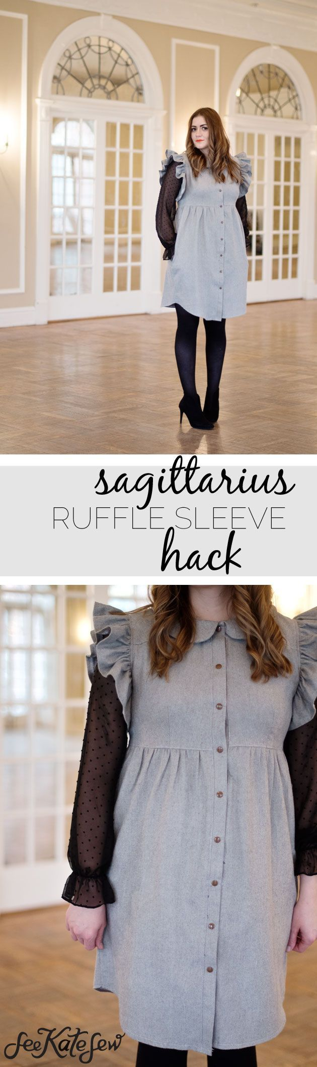 Ruffle Sleeve Hack Tutorial | flannel dress tutorial | diy dress pattern | handmade clothing tutorials | easy diy dress | free sewing tutorials | sewing tips and tricks || See Kate Sew #diydress #sewingtips #sewingpatterns