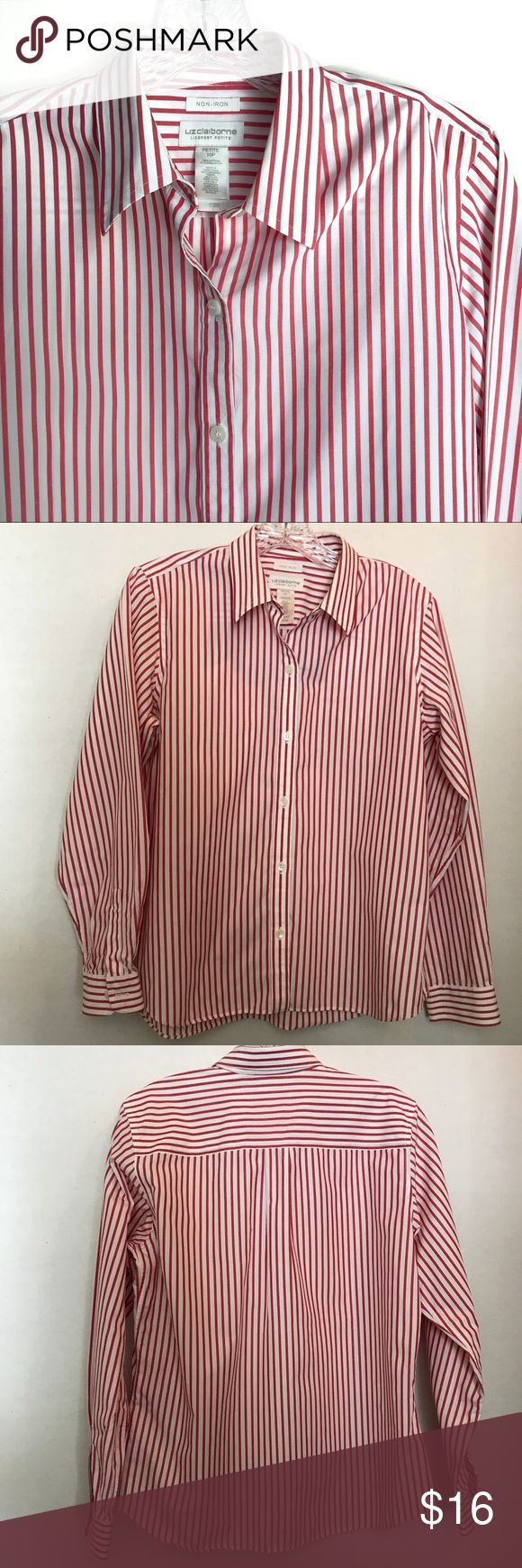 "Liz Claiborne Non Iron Shirt 10P Classic striping makes this one a great one to have in your closet for any season. Pre-loved and in good shape. 10P. 100% Cotton. Shoulder to hem: 24"", outer sleeve: 23"", pit to pit: 20"".   Shop smart by maximizing your shipping $. Use the filter function and peruse my closet of over 1,000 items! Bundle and save!! Liz Claiborne Tops Button Down Shirts"