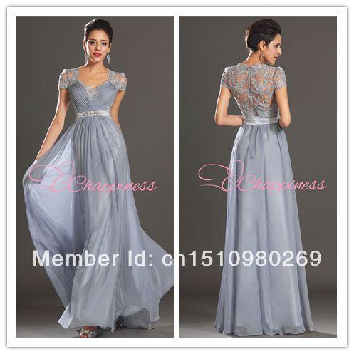 free vestido de noite envio com manga cap longa noite rendas vestidos chiffon pavimento comprimento US $13.40