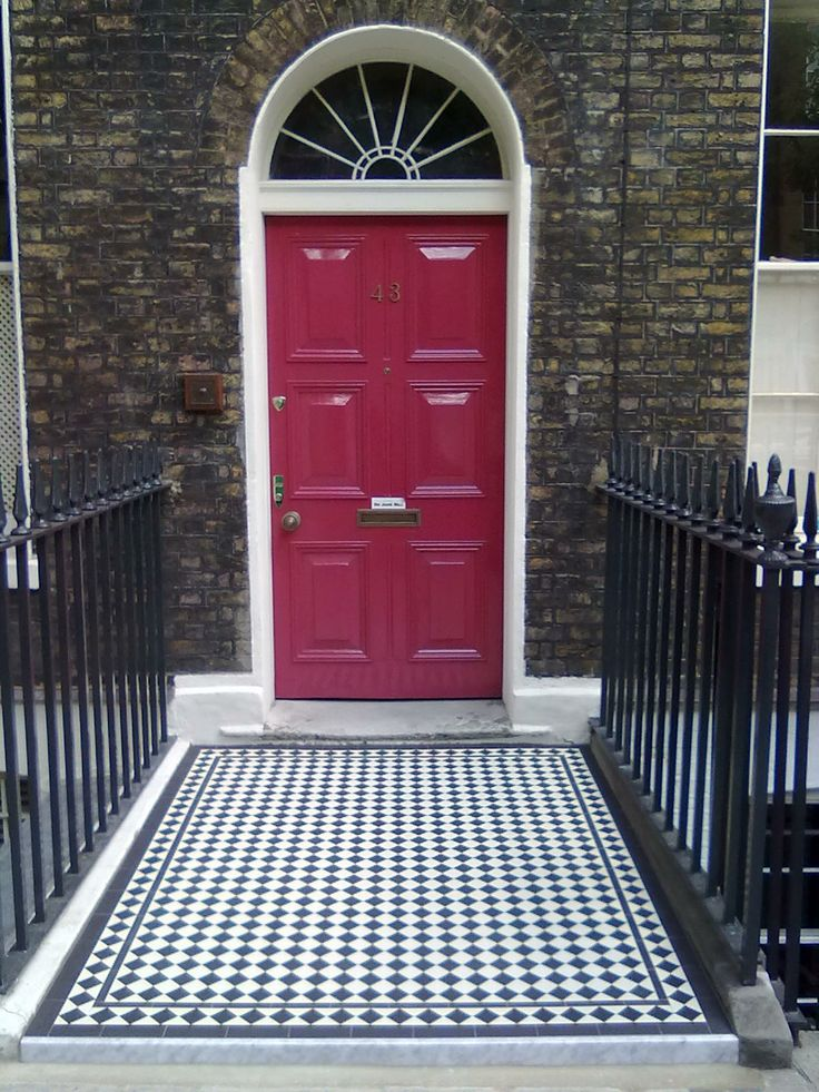 What a beautiful classic English townhouse entrance - Ennerdale 50 in Black & White: http://originalfeatures.co.uk/olde-english-tiles/olde-english-tiles-range.html