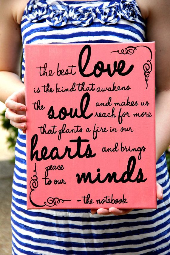 Love Quote From The Notebook Hand Painted Canvas Quote Painting
