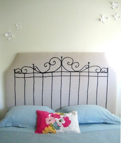 sweetandlovelythings looks easier than the scrolled ones and more unique to boot.: Decor Ideas, Craft, Diy'S, Embroidered Headboard, Diy Headboards, House, Bedroom, Headboard Ideas