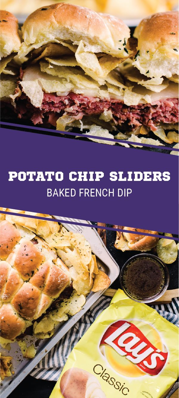 Sponsored by Frito-Lay. LAY'S® Classic Potato Chips on a sandwich?! Oh yes, this recipe for Baked French Dip Potato Chip Sliders will score big on your game day menu. This tasty combination of roast beef, sweet onions, swiss cheese, fresh herbs, and crunchy toppings is sure to be the game-winning appetizer at your Super Bowl LII party. Sharing a savory snack with your football fans has never been easier thanks to these delicious bites.