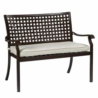 Summer Classics Oxford Garden Bench with Cushions Color (Frame): Mahogany, Color (Cushion): Xl Kilim Smoke