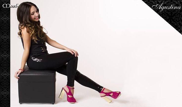 Zapatos MARF : MODELO AGUSTINA  fucsia y oro , negro y oro
