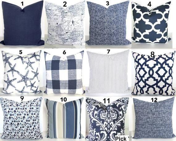 pillows blue throw pillows navy blue
