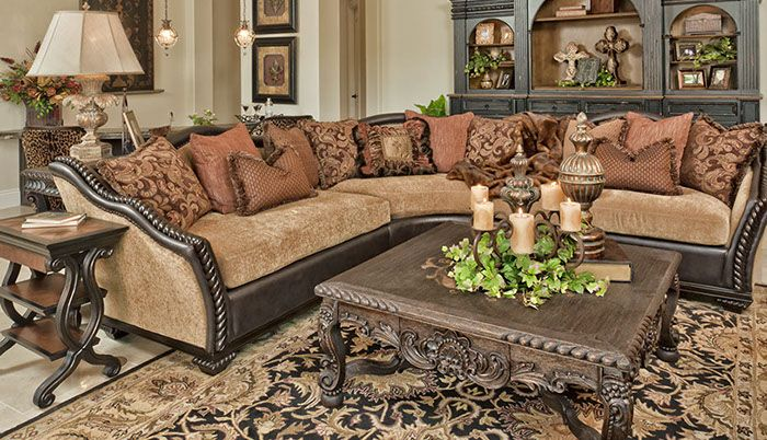 Hill country style sofa sectional, end tables, armoire, lighting & decor