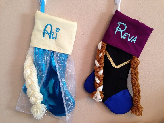 My daughter will be ecstatic on Christmas morning when she sees this Elsa stocking full of Frozen gifts, wrapped in Frozen wrapping paper! This is one of the cutest Frozen-themed stockings I could find on Etsy :) Elsa and Anna Christmas stocking from ThePolkaDotLollipop on Etsy