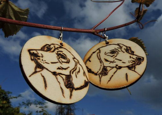 Handmade wood earrings with portrait of a by GajaArtCrafts on Etsy