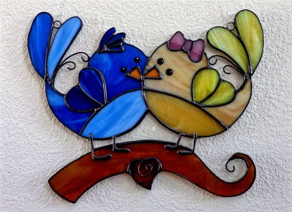 Suncatcher vidrieras caprichoso amor aves par colgando de la
