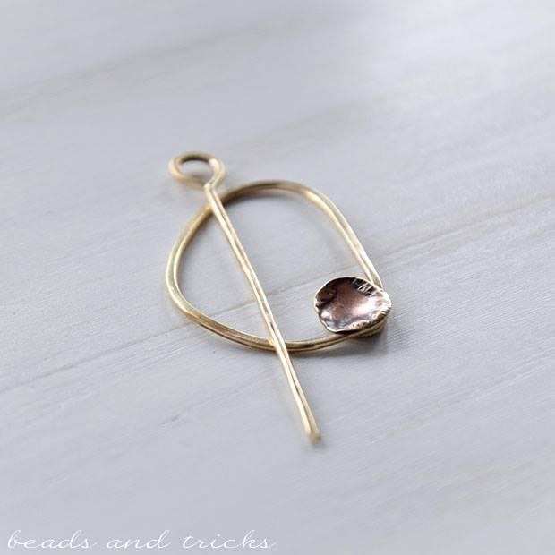Red brass shawl pin | Beads and Tricks