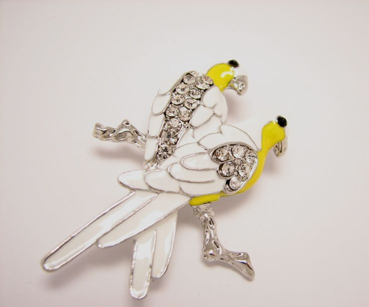 White parrots brooch, $22 in my Etsy shop