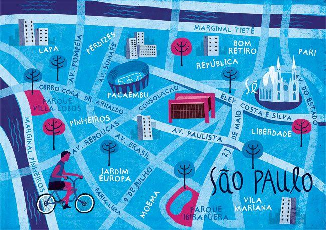 Map of Sao Paulo - Brazil - Mauricio Pierro