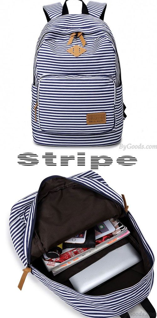 Cute ! Get this Stripe High School Bag Rucksack Trunk Student Travel Canvas Backpack for my little sister! It can fit 14 inch laptop! #backpack #bag #school #rucksack #striped #cute #canvas #college #gift