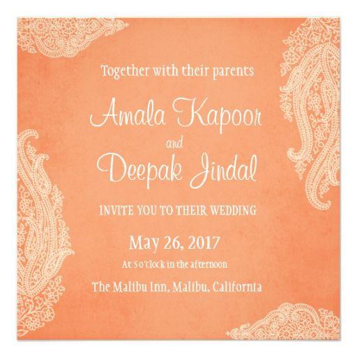 Hindu Wedding Invitation, Mehndi, Peach Card