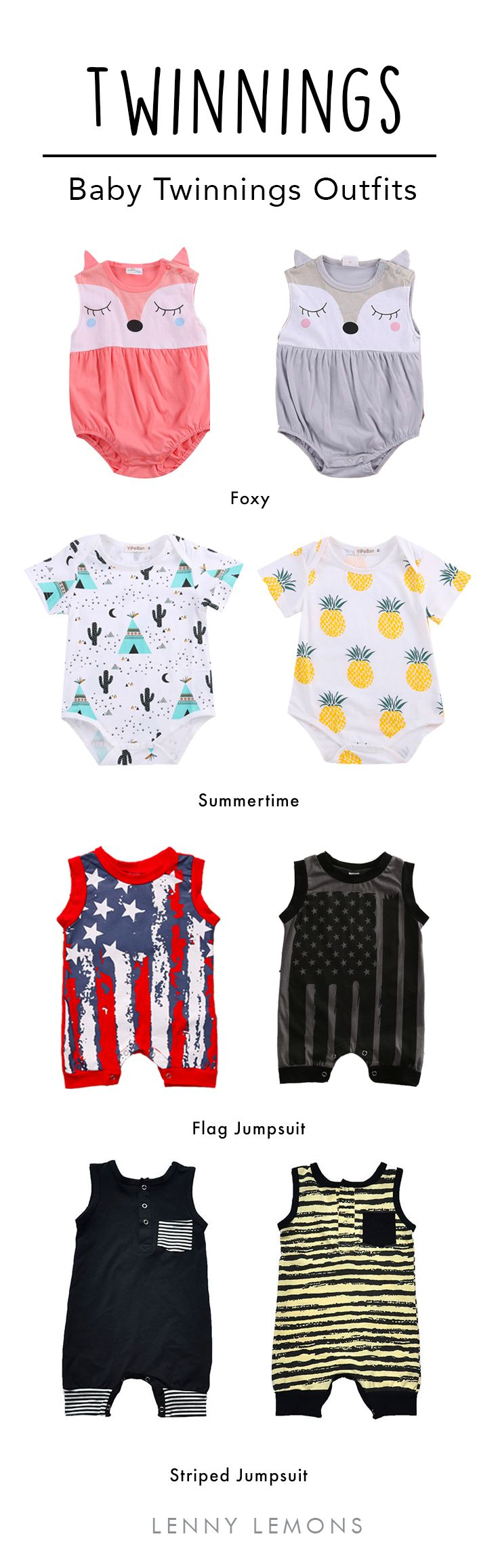 FREE USA SHIPPING! Gorgeous outfits for twins. Choose the right style for the occasion. Summer fashion ideas for babies.