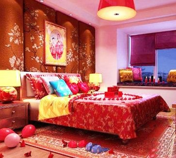 Chinese wedding bedroom. Red red red.