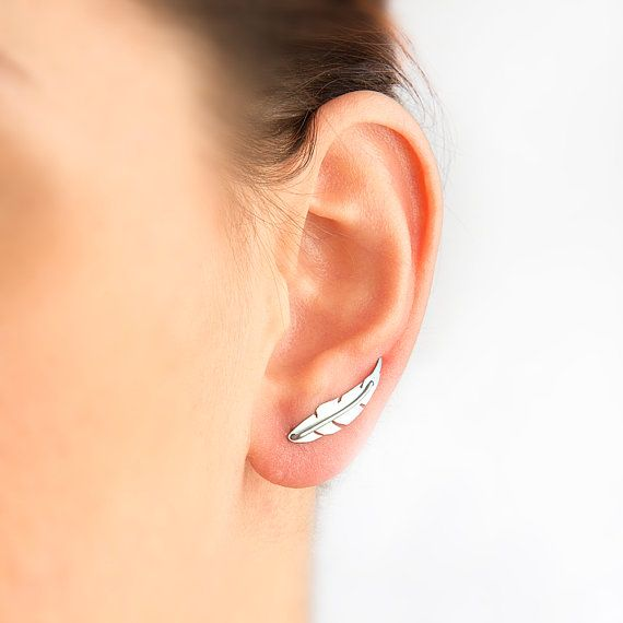 Feather ear pins,feather earring,feather jewelry,leaf earring,titanium earring,nickel free,hypoallergenic earring pin,cyber monday sale. on Etsy, $21.00