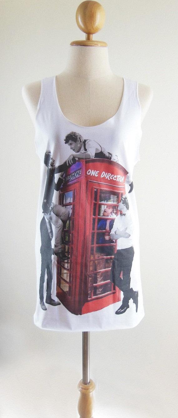One Direction Shirt -- One Direction T-Shirt 1D Shirt Boy Band Shirt Women T-Shirt Tank Top Vest Women Top Sleeveless White Shirt Size M. $17.99, via Etsy.