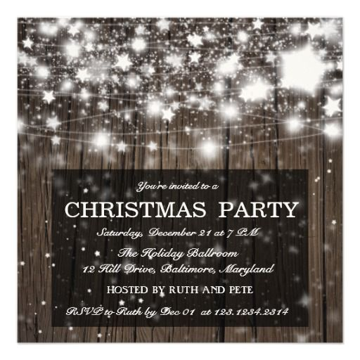 399 best corporateoffice christmas parties by zazzlers images on rustic wood christmas party shining stars announcement stopboris Images
