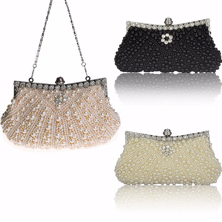 Luxury Pearl Handmade Evening Bag Diamond Clutch Bridal Party Handbags