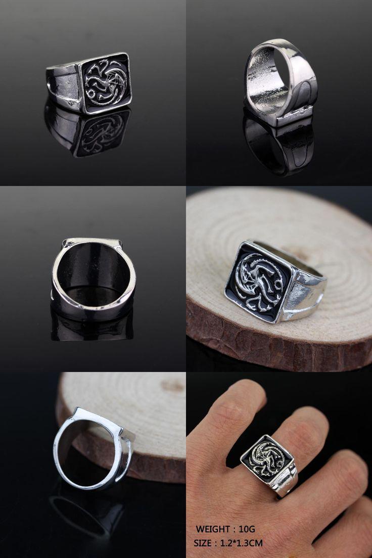 [Visit to Buy] Free Shipping For 1 Pcs New Style Game Of Thrones Badge Targaryen Dragon Ring Size: 6/7/8/9/10/11/12 Enamel Men Ring Wholesale #Advertisement