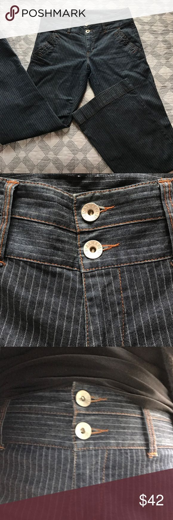 "Armani Exchange pinstriped jeans In EUC! Size and fabric content labels have been removed, but these are clearly a stretchy denim for a size 12-14. Measurements lying flat: waist 17&1/2"", inseam 33"". Sits high on the waist (as shown). Stretchy material and very comfortable. Boot cut style. Armani Exchange Jeans Boot Cut"