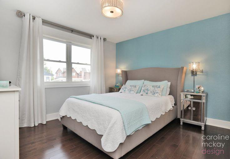 master bedroom, #StoningtongrayBenjaminMoore paint, turquoise wallpaper, #upholsteredheadboard, #oakvilleinteriordesign #carolinemckaydesign #truecolourexpert