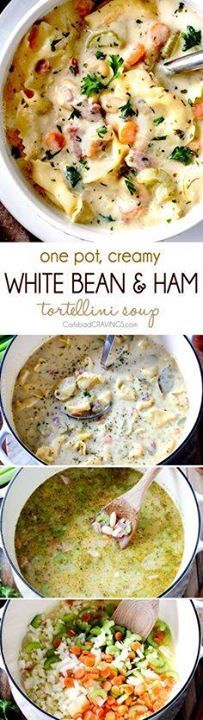 ONE POT hearty cozy ONE POT hearty cozy Creamy White Bean and...  ONE POT hearty cozy ONE POT hearty cozy Creamy White Bean and Ham Tortellini Soup simmered with onions carrots celery and seasonings is SO easy and lick your bowl delicious! love the addition of cheesy tortellini! Recipe : http://ift.tt/1hGiZgA And @ItsNutella  http://ift.tt/2v8iUYW