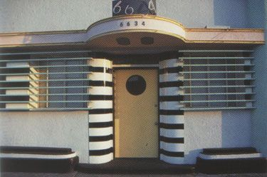 Art Deco house front door with porthole in Streamline Moderne style