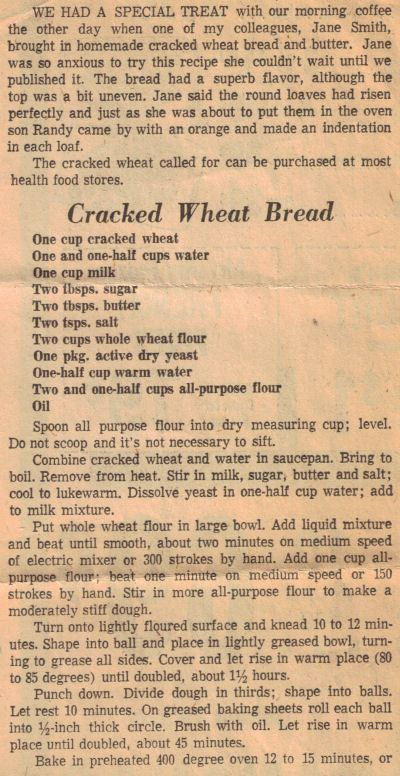 Cracked Wheat Bread Recipe