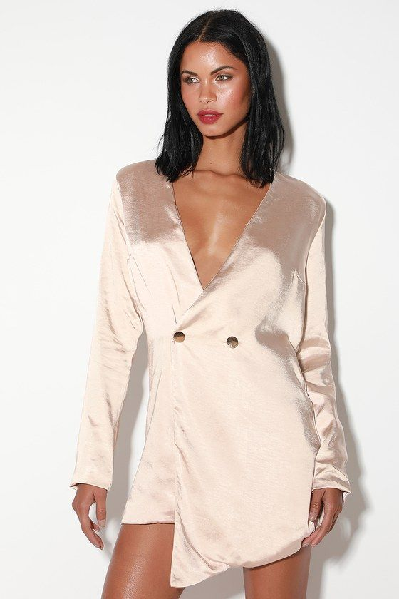 6ff357f06d0 The Lulus Sleek Surprise Champagne Satin Double Breasted Blazer Dress is a  party standout! Shiny satin shapes fitted long sleeves and a plunging  V-neckline.