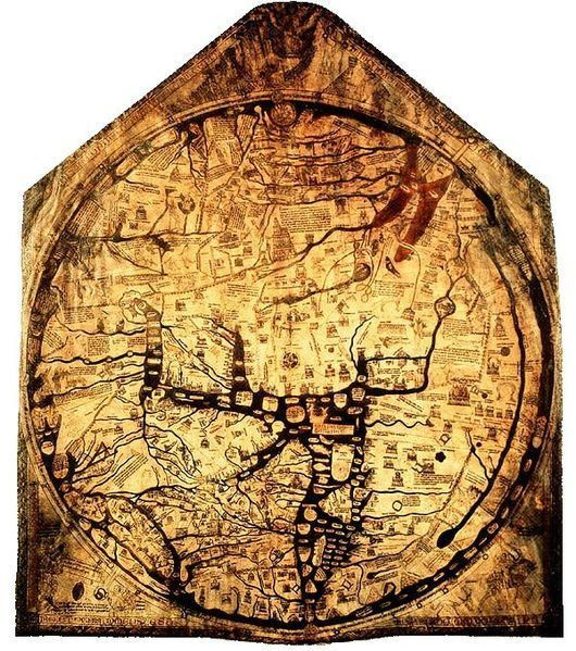 HEREFORD, ENGLAND - Hereford Mappa Mundi  The largest known medieval map of the world.