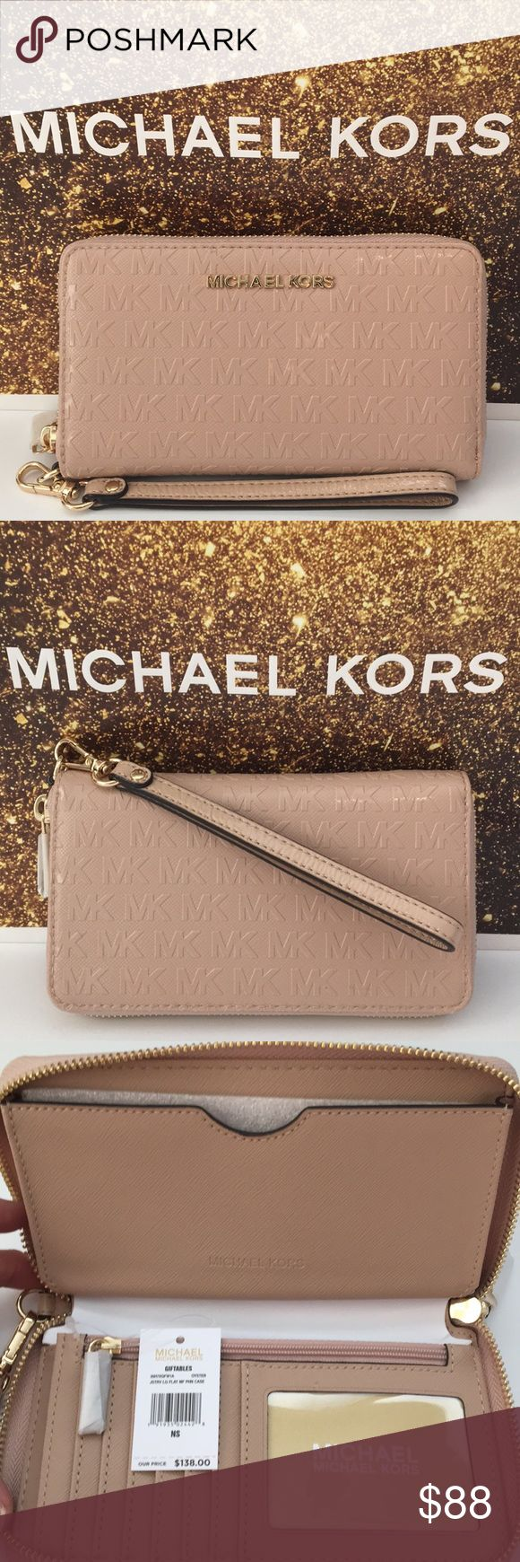 "Michael Kors Smartphone Wristlet, Oyster Color This authentic Michael Kors oyster-colored leather sleek wristlet is covered with the classic embossed MK logo. It features a dedicated pocket for your phone. It's a ""one–size–fits–all"" wristlet that is designed to fit most models of iPhone, Samsung Halaxy and Blackberry phones. It also has 7 card slots, one ID window, 1 zippered compartment, gold–tone hardware and top–zip fastening. Great for effortless every day wear and travel.  It will look…"